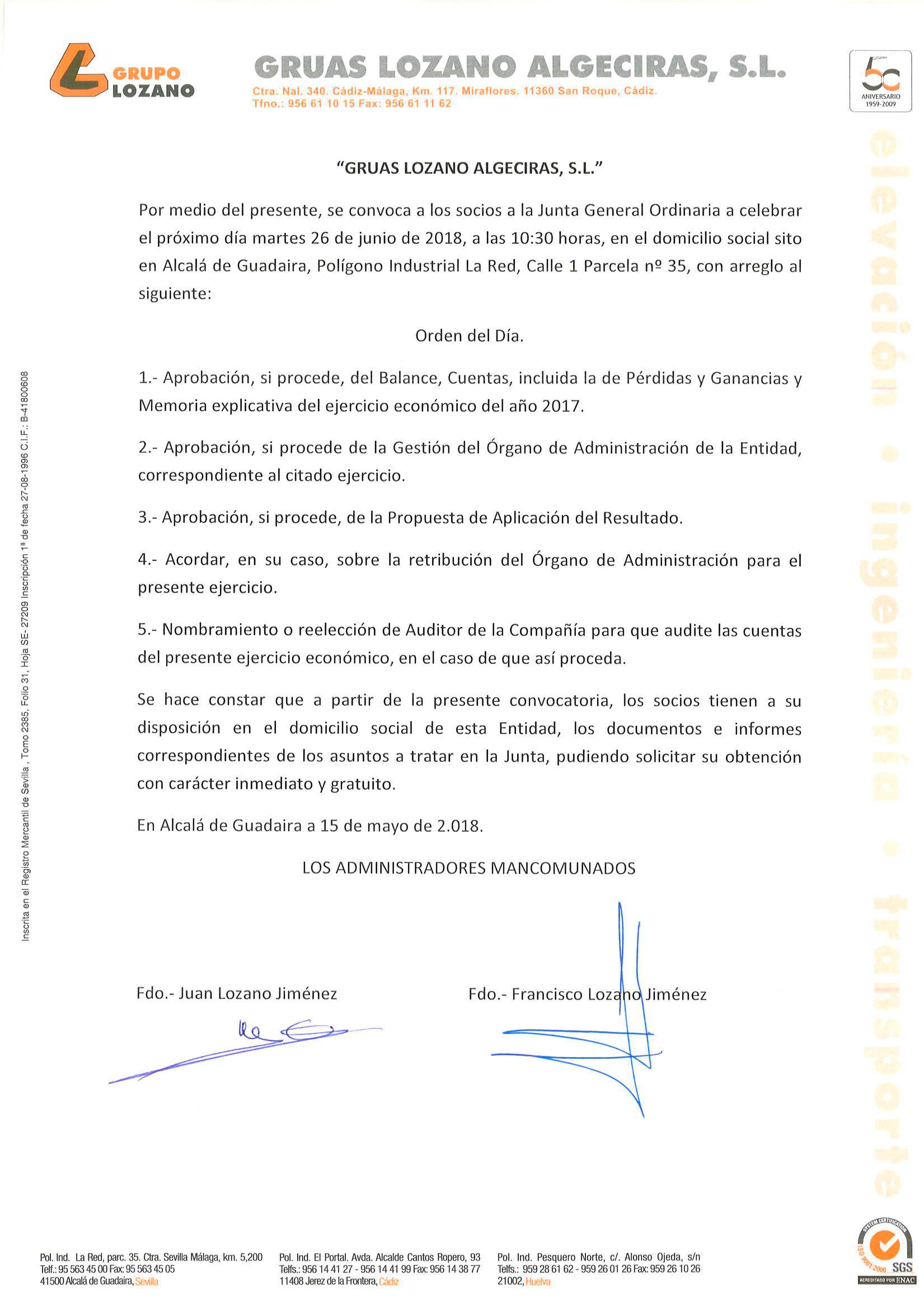 Convocatoria Junio Algeciras